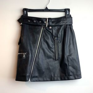7 for all mankind black faux leather skirt